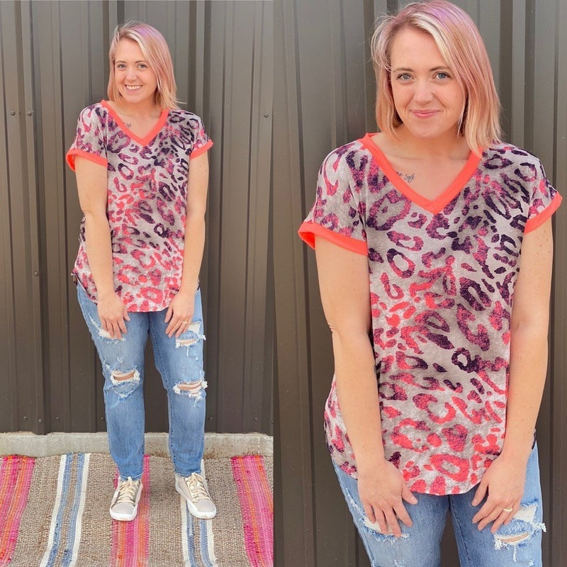 Reg/Plus SIL Taupe/Coral Leopard Print V-Neck Top *Final Sale*