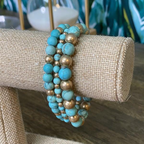 Turquoise/Gold Stone Bracelet Set