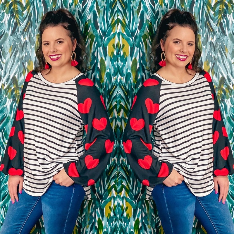 Reg/Plus LJ Striped Top with Heart Raglan Sleeves *Final Sale*
