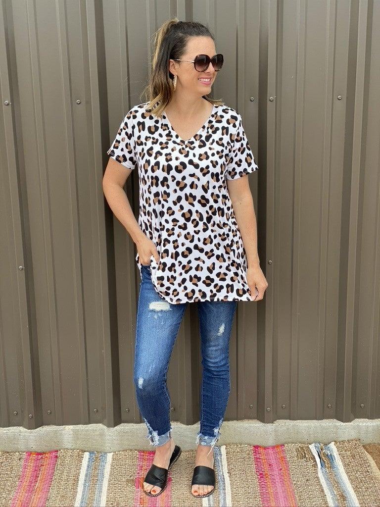 Reg/Plus Heimish Ivory Leopard V-Neck Top