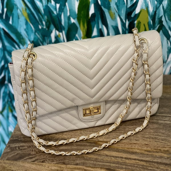 Chevron Quilted Baguette