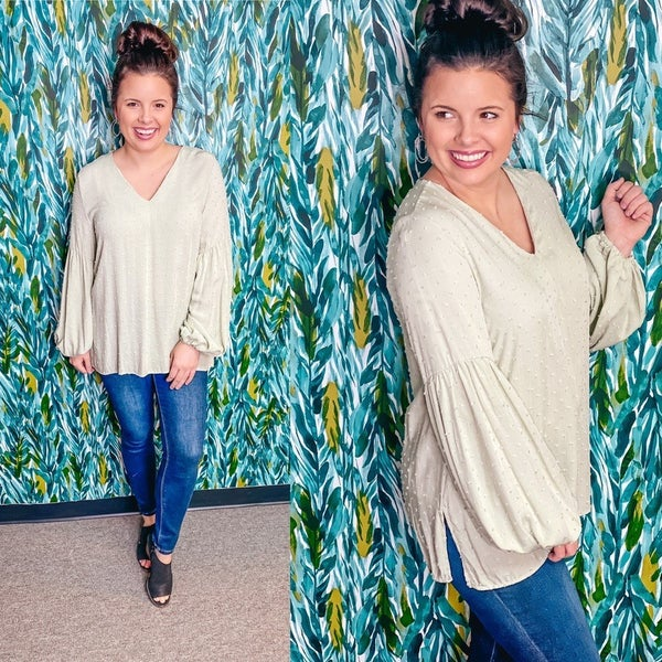 143 Story Sage Dotted Swiss V-Neck Bubble Sleeve Top