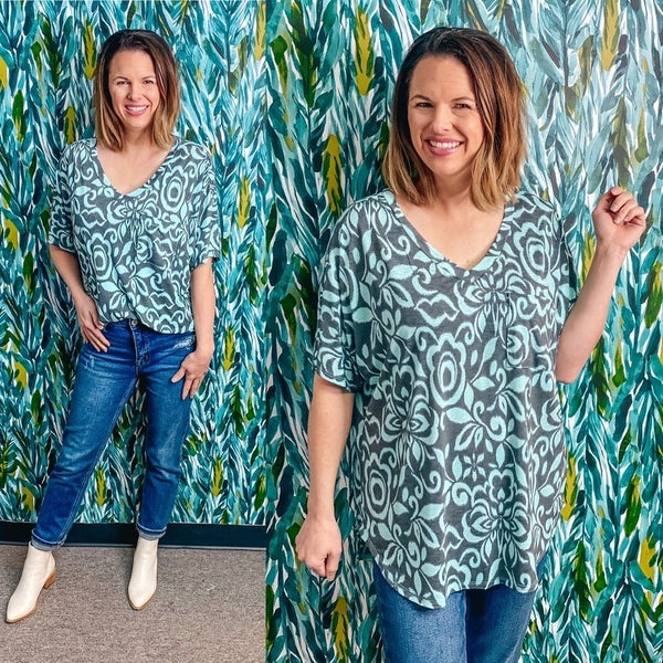 Honey Me Charcoal/Teal V-Neck Girlfriend Top