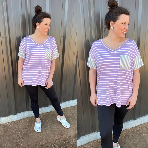 Reg/Plus Honey Me Lavender/Ivory V-Neck Top with Gray Striped Trim *Final Sale*