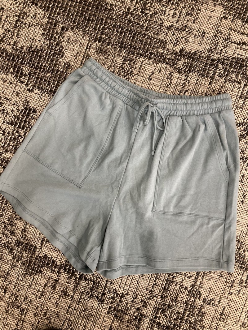 Zenana Blue Gray Drawstring Waist Shorts with Pockets
