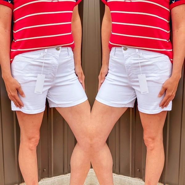 Vervet Optic White High Rise Roll-Up Shorts