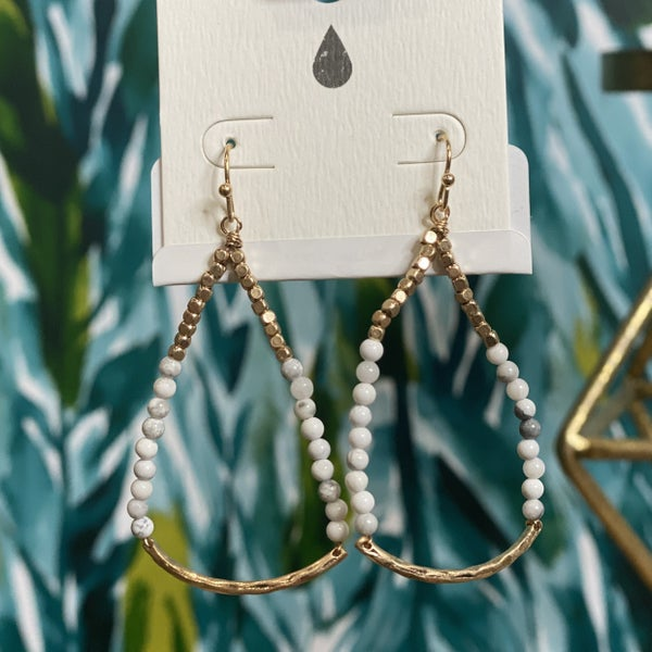 Unique Stacked Drop Earrings White
