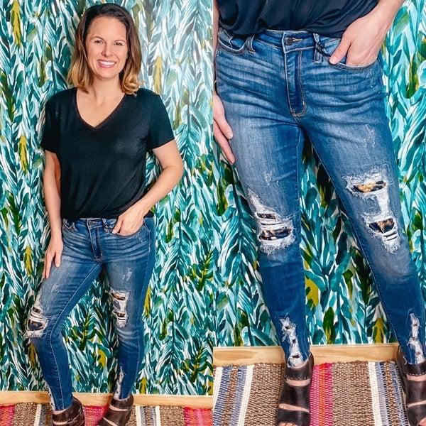 Reg/Plus Judy Blue 2166 High Rise Leopard Patch Jeans