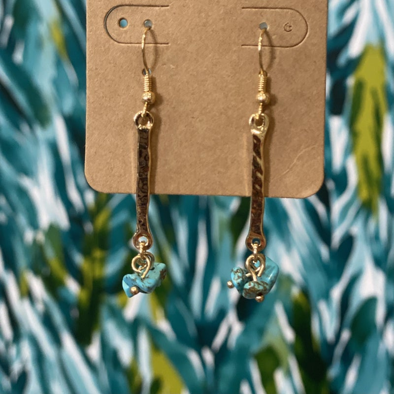 Hammered Stone Drop Earring