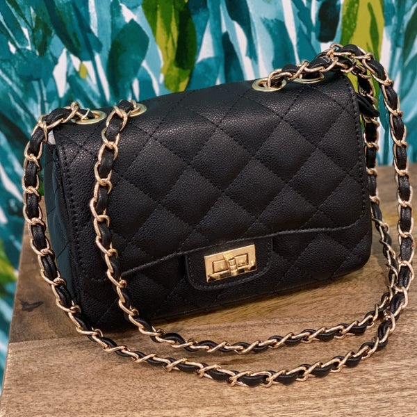 Small Quilted Baguette Black