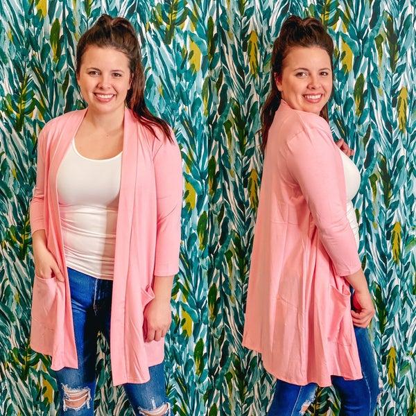 Reg/Plus Zenana Pink Slouchy Cardigan