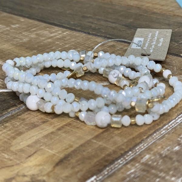 White Crystal & Coin Bracelet Set