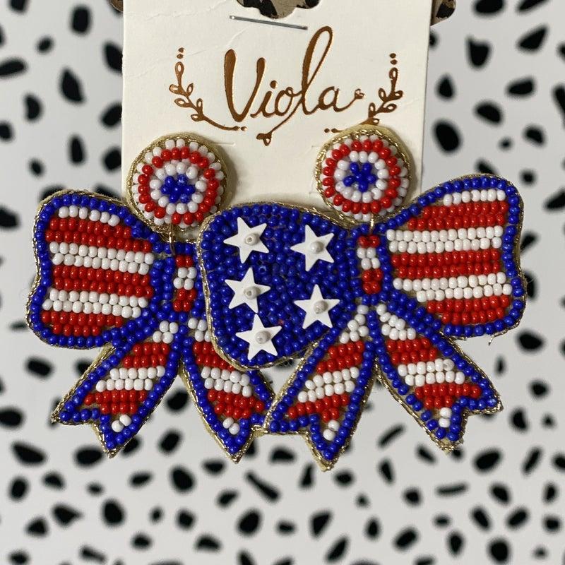 American Bow Seed Bead Earrings