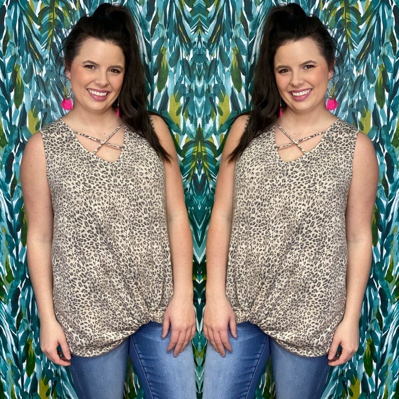 Reg/Plus Gee Gee Taupe Leopare Criss Cross V-Neck Tank