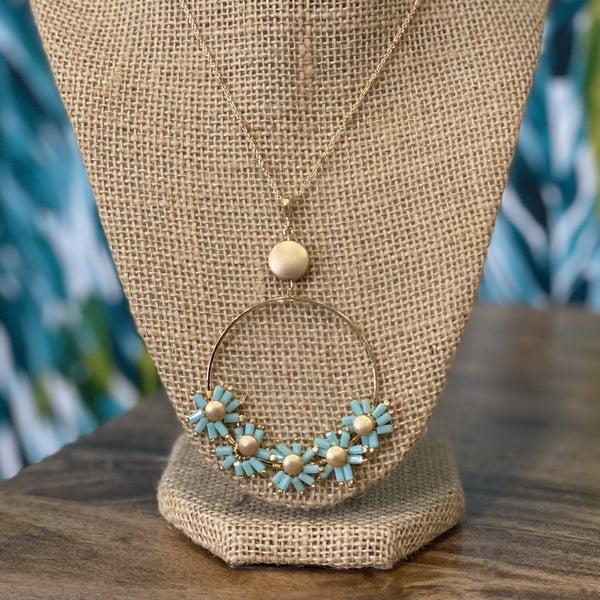 Aqua Flower Gold Ring Necklace