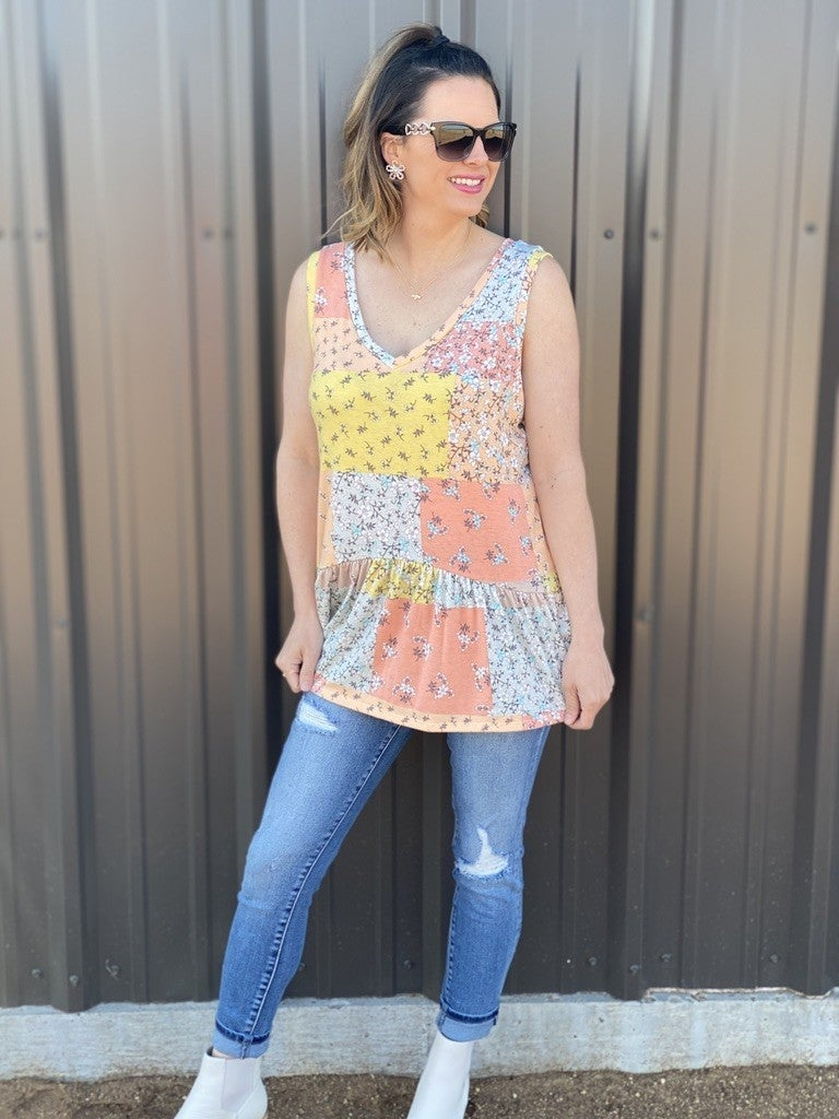 Gee Gee Coral/Aqua Printed Sleeveless Top with Ruffle Hem *Final Sale*