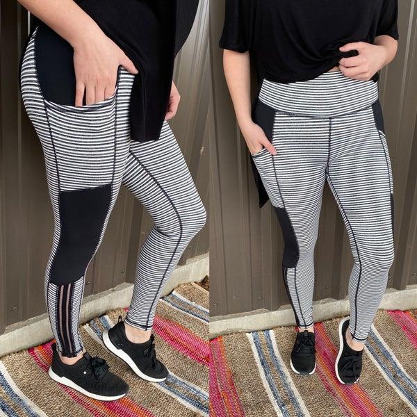 Mono B Black/White Color Block High Waisted Leggings