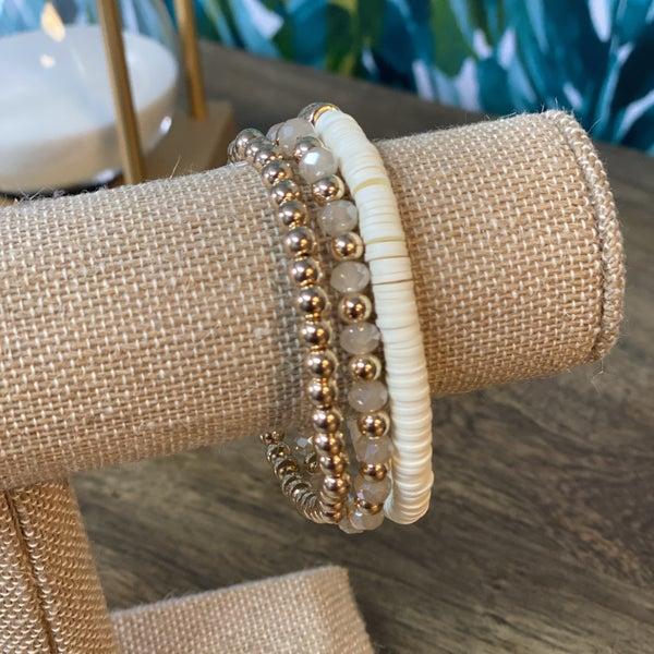 Ivory Stacked and Gold Beaded Bracelet Set