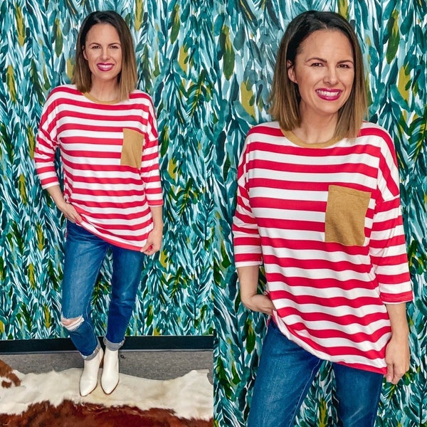 RJ Dark Rose/White Striped Top with Camel Trim