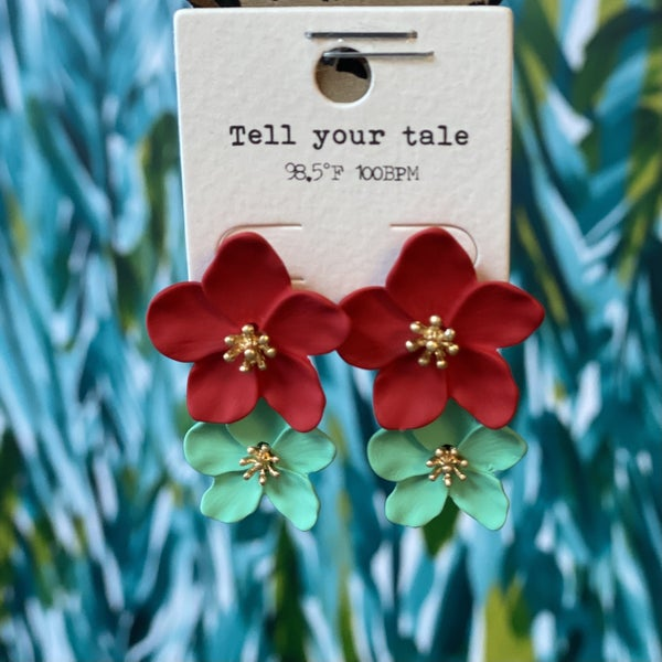 Double Hibiscus Earring Red/Turquoise