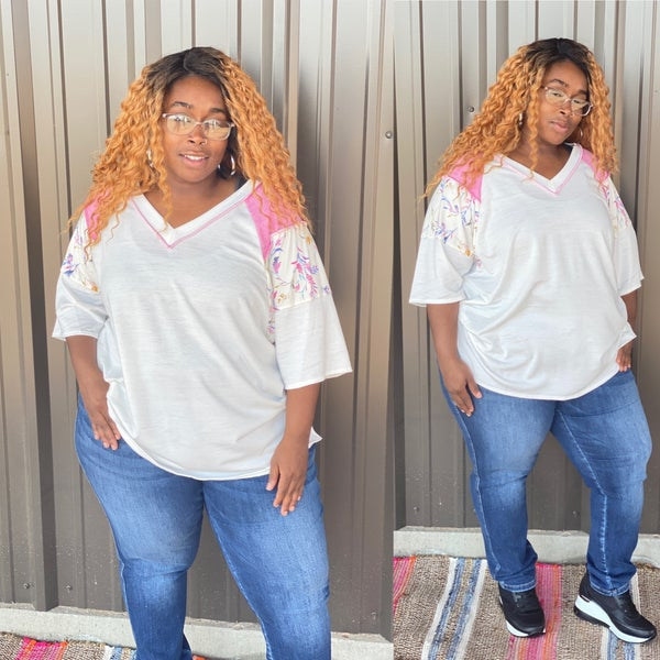 Reg/Plus SOL Ivory V-Neck Top with Pink/Floral color Block Raglan Sleeves