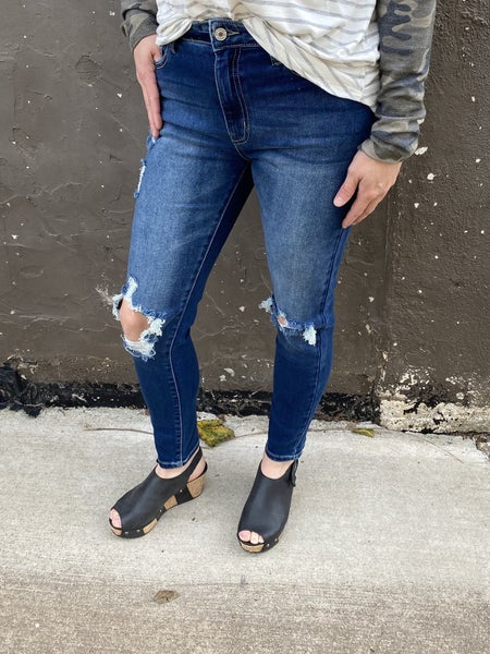 Kan Can 8562 Dark Wash High rise Destroyed Jeans *Final Sale*
