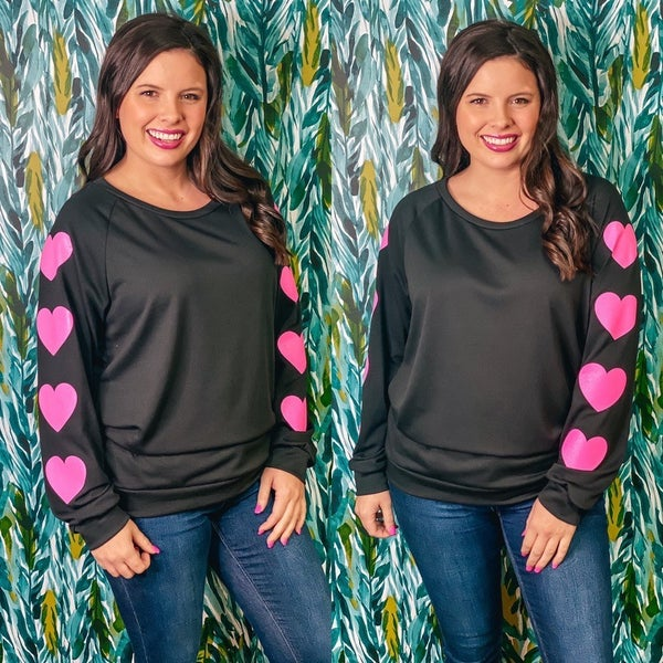 143 Story Black Pullover with Pink Hearts