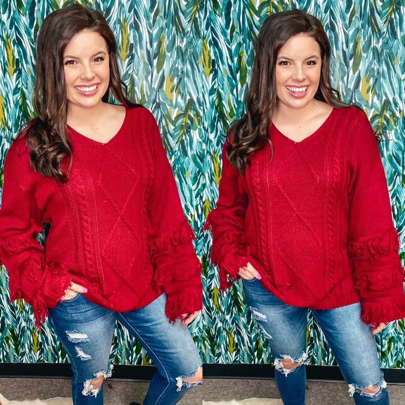 143 Story Deep Red Twisted Cable V-Neck Sweater *Final Sale*