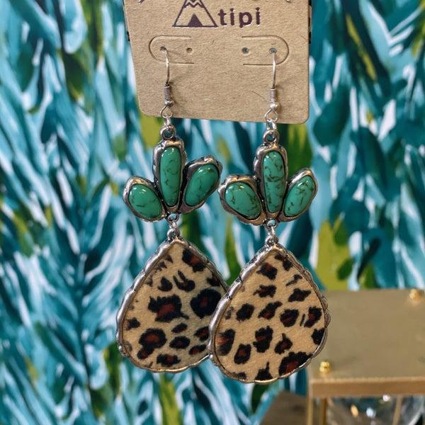 TIPI Faux Turquoise Leopard Drop Earrings