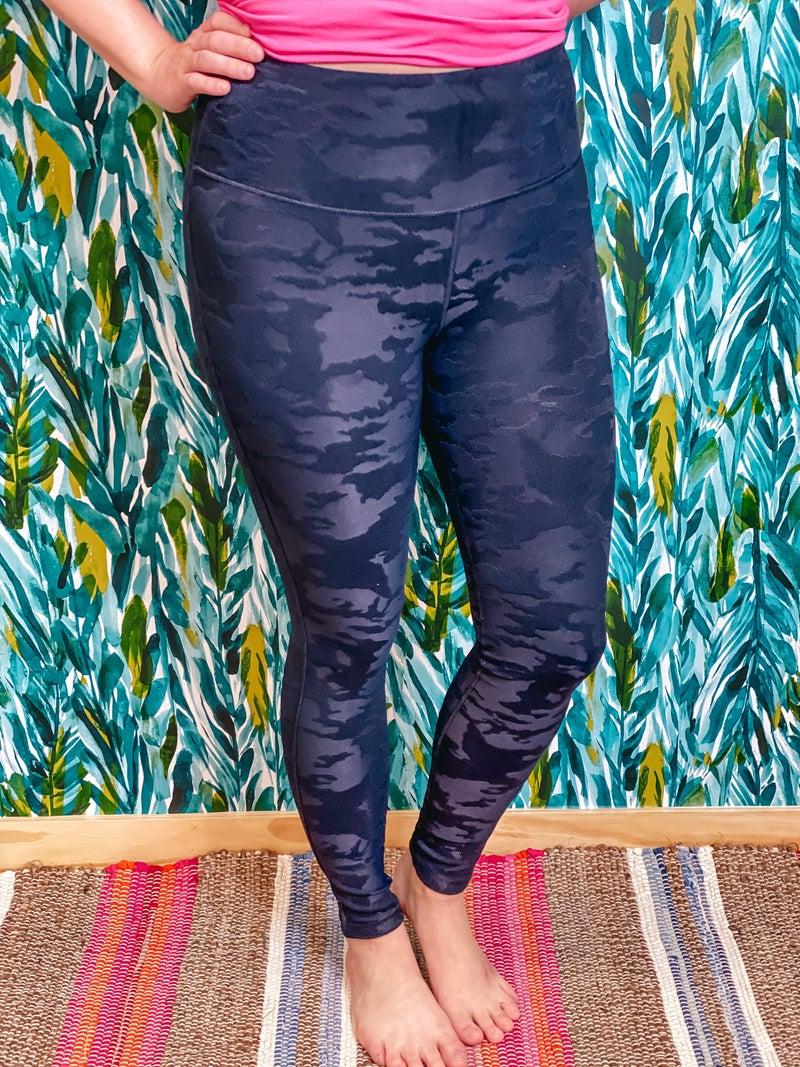 Mono B Black Textured Camo Jacquard Tactel High Waisted Leggings