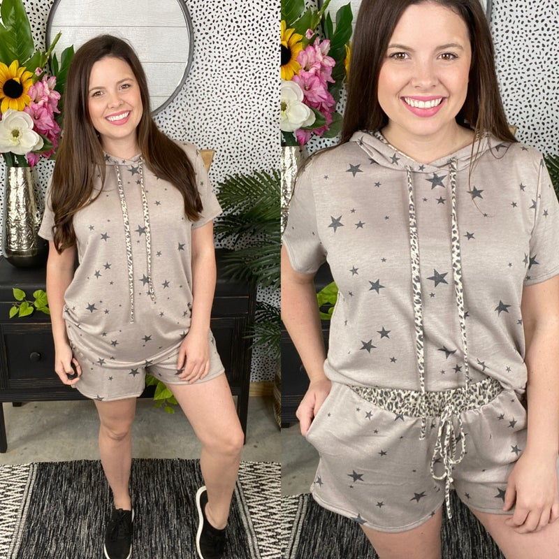 Gee Gee Mocha Hooded Short Set with Stars