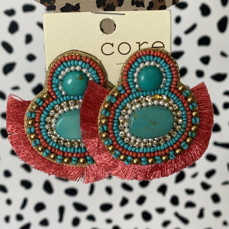 Marble Stone Seed Bead Fan Earrings