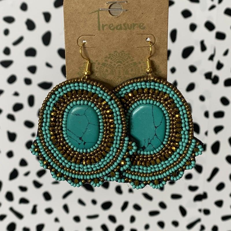 Marble Stone Seed Bead Earrings