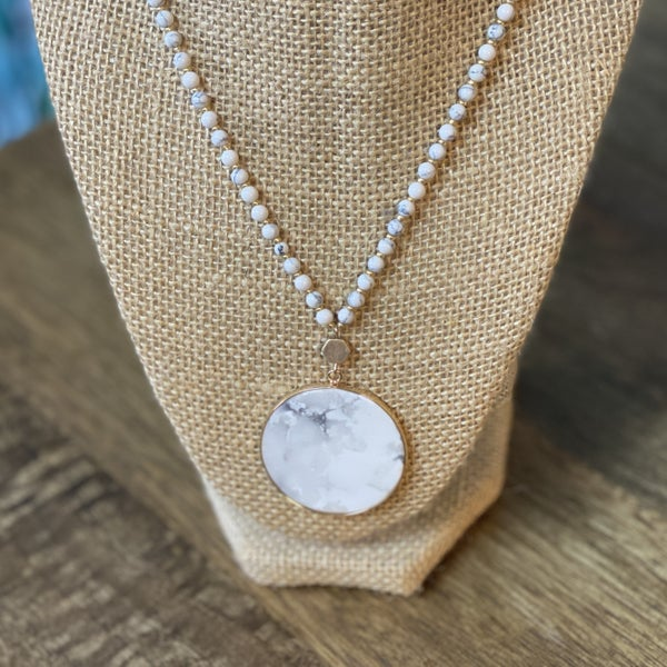 Marbled White Pendent Necklace
