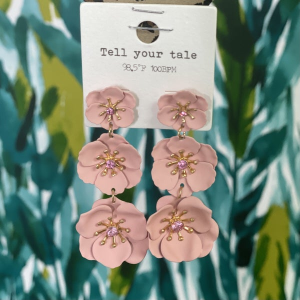 3 Tiered Blush Hibiscus Earrings
