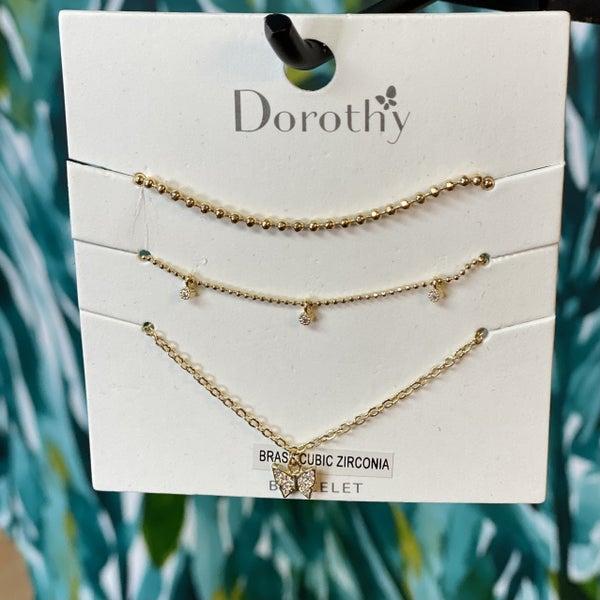 Dainty Gold Butterfly Bracelet Set