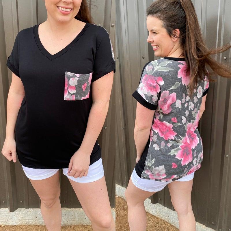 Reg/Plus SIL Black V-Neck Top with Floral Back & Pocket *Final Sale*