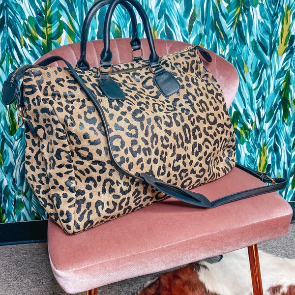 Leopard Canvas Bag with Crossbody Strap