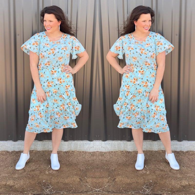 RJ Vintage Blue Floral Tiered Dress