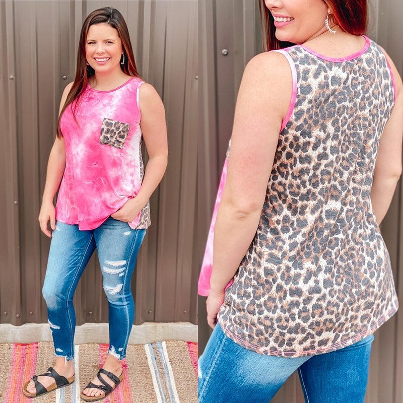 Reg/Plus Heimish Pink Tie Dye Tank with Leopard Back & Pocket