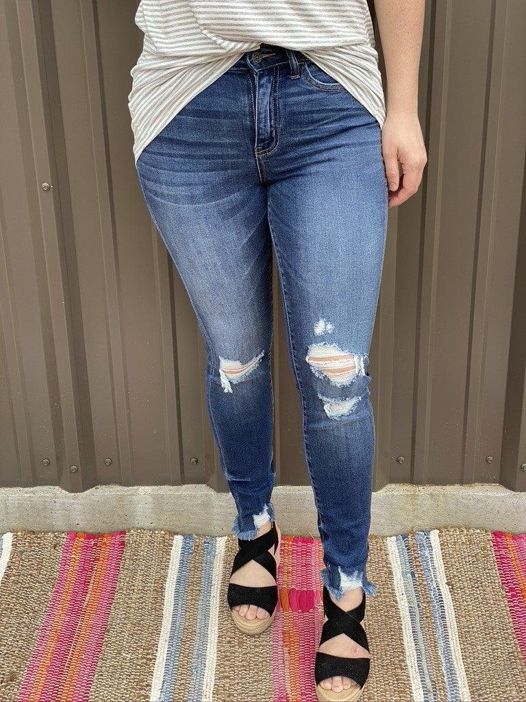 "Vervet Amber ""Found You""  Distressed Cuffed Jeans"