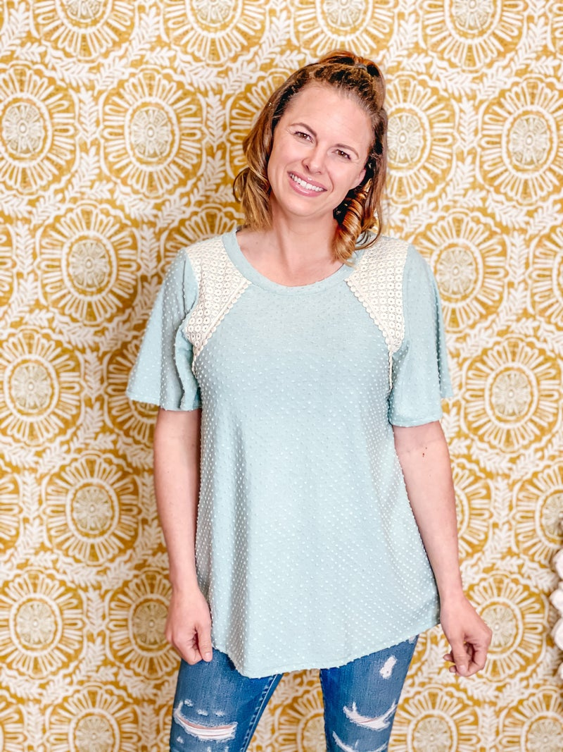 RJ Mint Dotted Swiss Top with Lace Trim *Final Sale*
