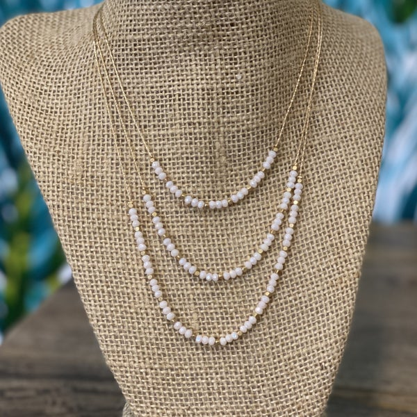 Triple Layered Crystal Necklace White