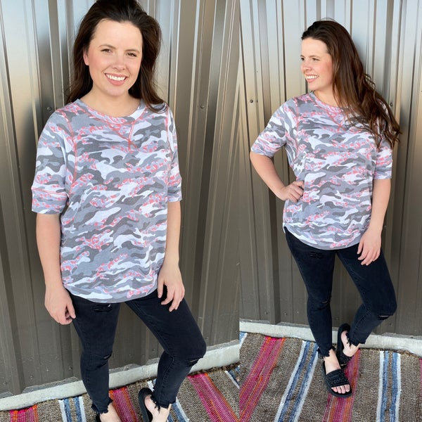 Reg/Plus SIL Gray Camo Top with Pink Trim *Final Sale*