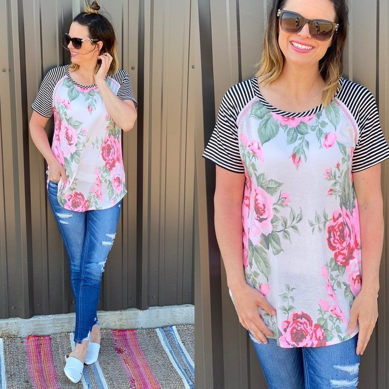 Reg/Plus HM Ivory/Pink Floral Top with Striped Sleeves *Final Sale*