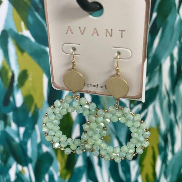 Mint Glass Bead Circlet Earring