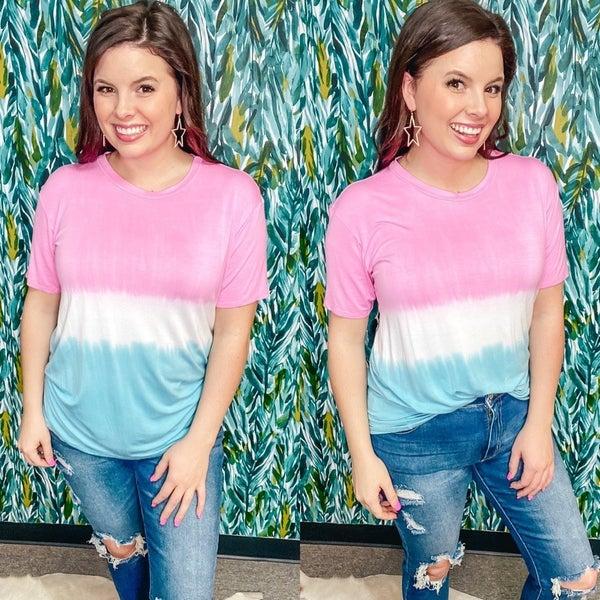 FSL Pink/White/Jade Tie Dye Top