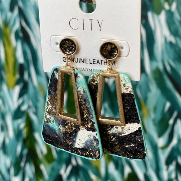 Black/Turquoise/Gold Python Earrings