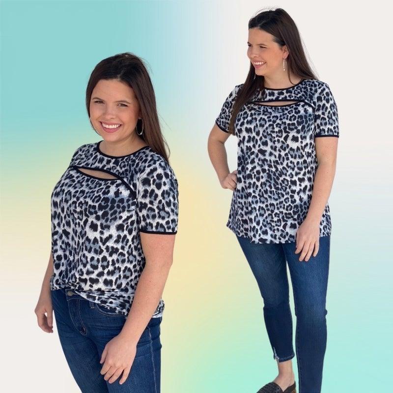 "Heimish Gray Leopard ""Peek-A-Boo"" Top *Final Sale*"