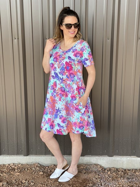 Reg/Plus SOL Mint Floral Dress